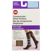 Life Brand Knee Length Compression Sheer Hosiery Moderate Compression Nude
