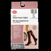 Life Brand Ladies Sheer Knee Highs Large Nude