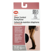 Life Brand Ladies Sheer Control Pantyhose X-Large Black