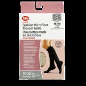 Life Brand Ladies Microfiber Trouser Socks 15-20 Mmhg Light Compression L Beige 1 Pair