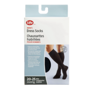 Life Brand Men's Dress Socks 20-25 Mmhg Mild Compression Black 1 Pair
