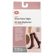Life Brandladies Sheer Knee Highs 15-20 Mmhg Light Compression Brown 1 Pair