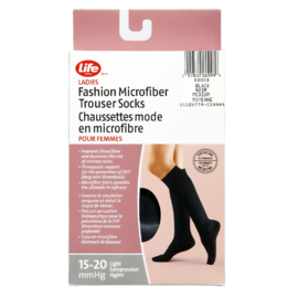 Life Brand Ladies Fashion Microfiber Trouser Socks Medium Black