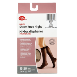Life Brand Ladies Sheer Knee Highs Large Nude