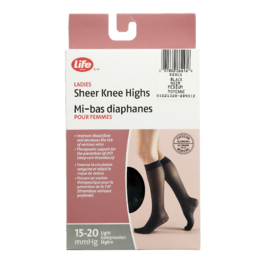 Life Brand Ladies Sheer Knee Highs Medium Black
