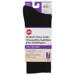 Life Brand Diabetic Dress Socks Crew Black 1 Pair