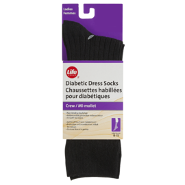 Life Brand for Ladies with Diabetes Dress Crew Socks with Silver Ions Size 6-10 Black 1 Pair