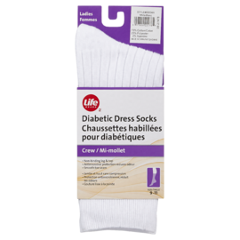 Life Brand Diabetic Dress Socks Crew White 1 Pair