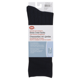 Life Brand Dress Crew Socks for Men with Diabetes Navy 1 Pair