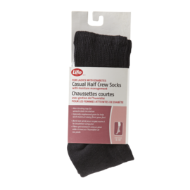 Life Brand for Ladies with Diabetes Casual Half Crew Socks with Silver Ions Size 6-10 Black 1 Pair