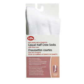 Life Brand for Ladies with Diabetes Casual Half Crew Socks with Silver Ions Size 6-10 White 1 Pair